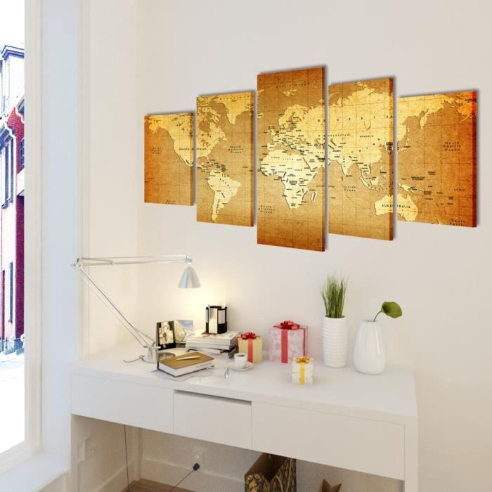 toile murale 5 panneaux motif de carte du monde d cor salle manger salon chambre avec cadre. Black Bedroom Furniture Sets. Home Design Ideas