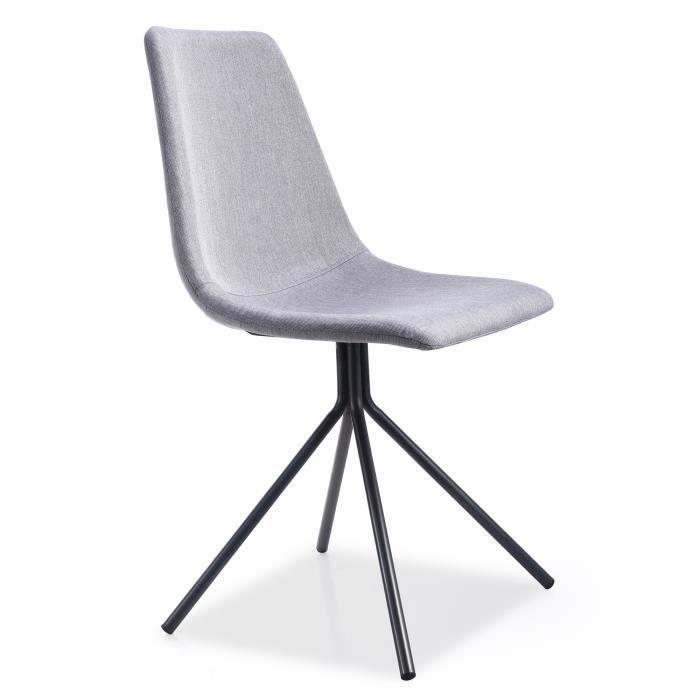 chaise charline tissu gris noir achat vente chaise gris cdiscount. Black Bedroom Furniture Sets. Home Design Ideas