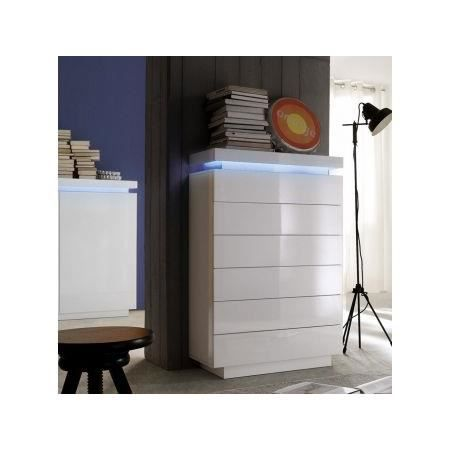 Commode led blanc laqu 6 tiroirs cameleon achat - Commode blanc laque fly ...