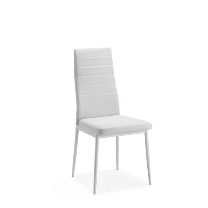 Lot de 4 chaises stacy blanches achat vente chaise pu cdiscount - Lot de 4 chaises blanches ...