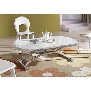 Table basse relevable venezia finition verre blanc achat - Table basse depliante ...