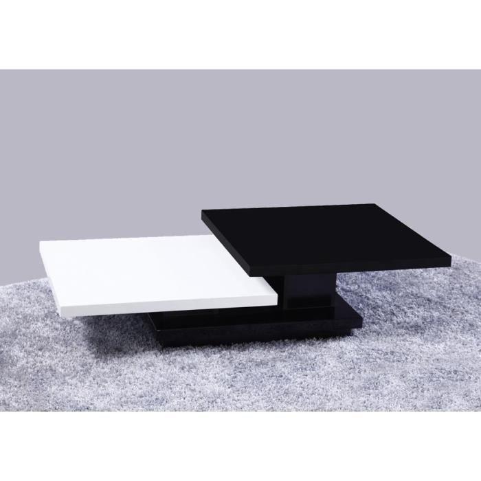 Table basse noire et blanche laqu e milan achat vente - Table basse blanche et noir ...
