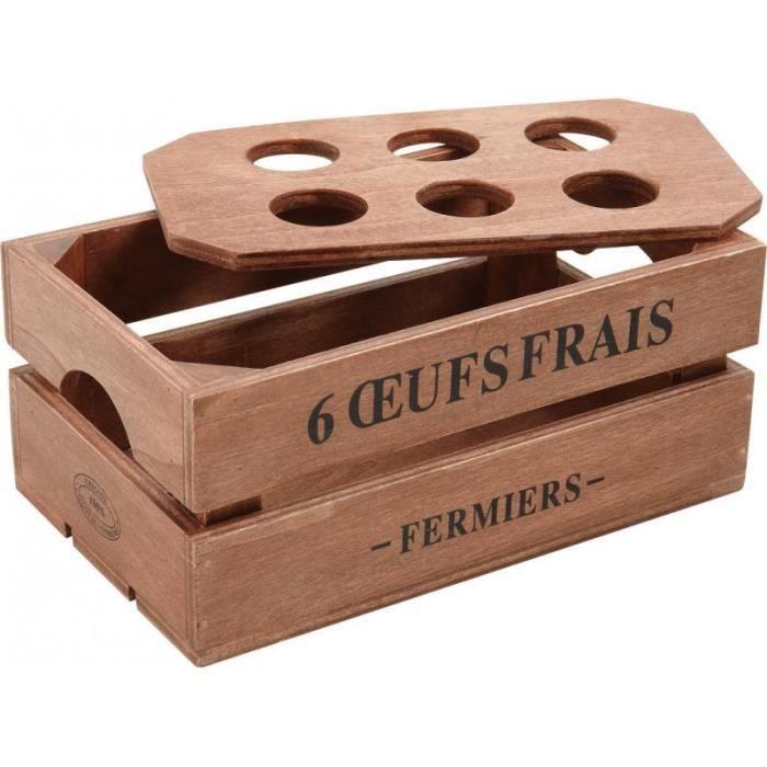 boite oeufs en bois avec couvercle pour 6 oeufs 20 x 12 x 8 5 achat vente boites de. Black Bedroom Furniture Sets. Home Design Ideas