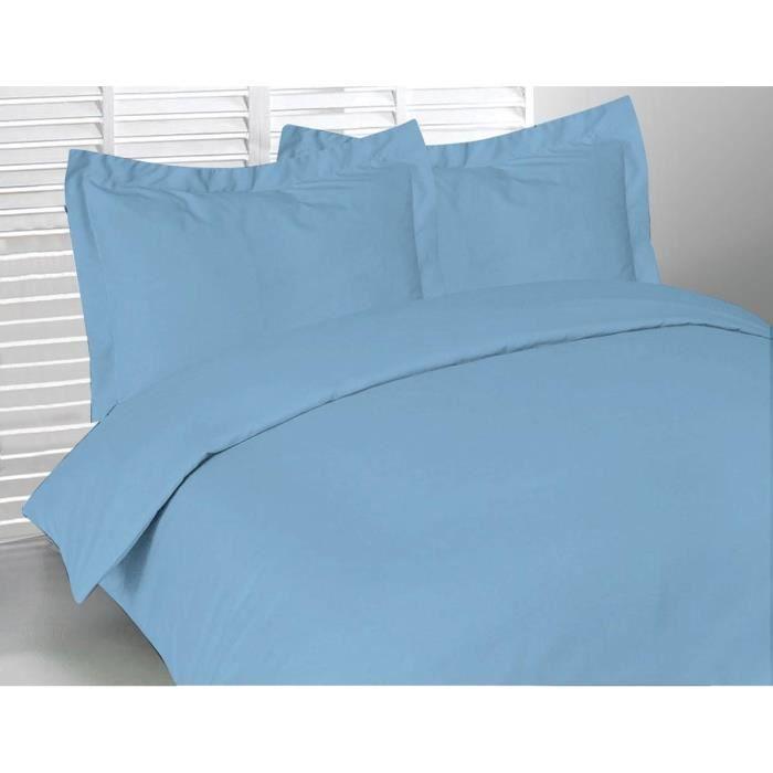 housse de couette 240x260 cm pur coton 57 fils bleu achat vente parure de couette. Black Bedroom Furniture Sets. Home Design Ideas