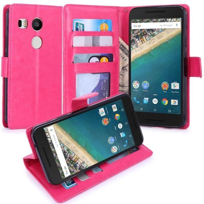 Nexus 5x housse etui coque luxe portefeuille en cuir for Housse nexus 5x