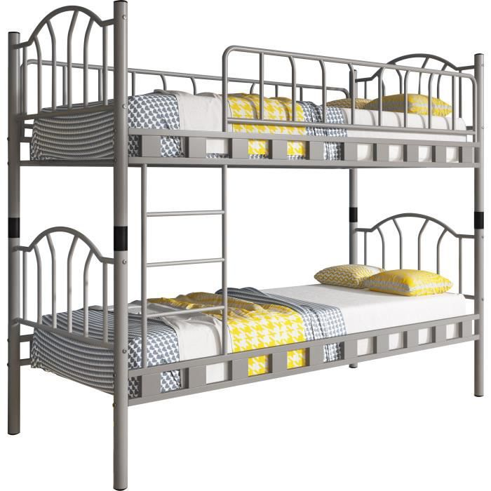 lit superpos en m tal coloris gris 2x90x200 cm gris achat vente lits superpos s lit. Black Bedroom Furniture Sets. Home Design Ideas