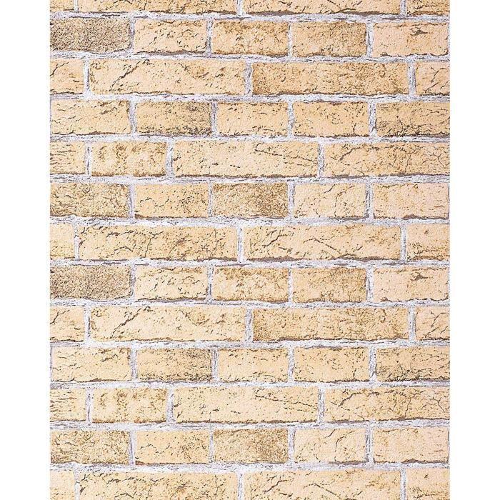 papier peint design vintage rustique edem 583 21 aspect mur de briques i bricks chamois clair. Black Bedroom Furniture Sets. Home Design Ideas