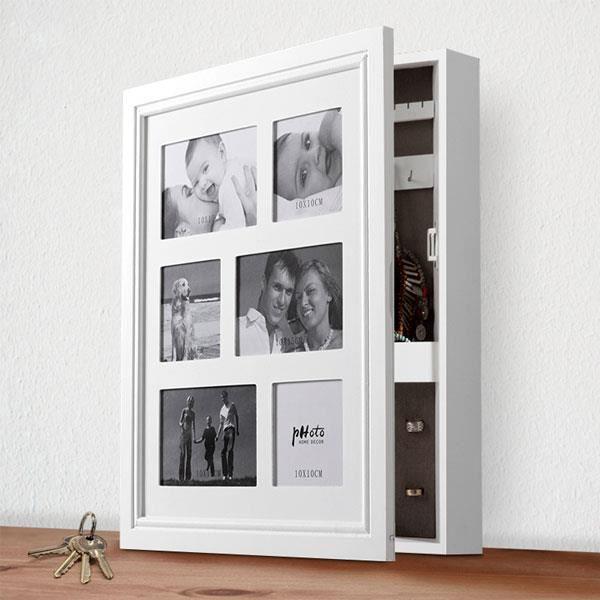 armoire coffret bijoux en bois avec porte photo multiple. Black Bedroom Furniture Sets. Home Design Ideas