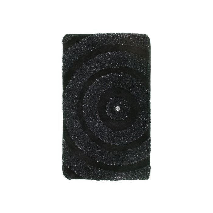 Deladeco tapis de bain brillant noir lavable en machine kee 65x110cm no - Tapis shaggy noir brillant ...
