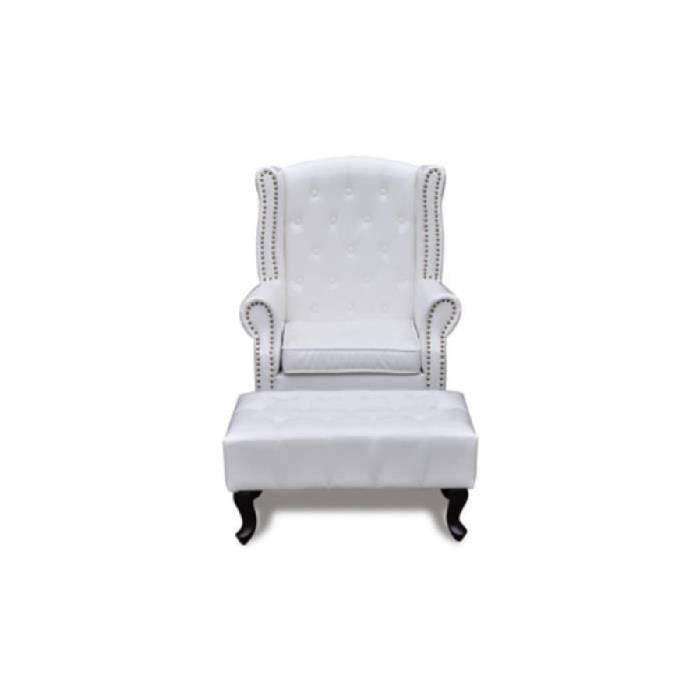 fauteuil chesterfield avec ottoman assorti blanc achat vente fauteuil textile simili bois. Black Bedroom Furniture Sets. Home Design Ideas