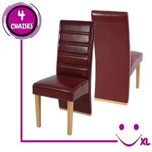 4 chaises de salle manger krems imitation cuir rouge for Chaises salle manger cuir dossier haut