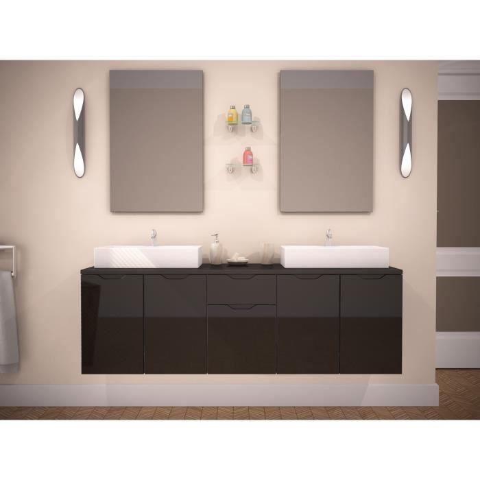 Lisa ensemble salle de bain double vasque 150cm achat for Soldes salle de bains