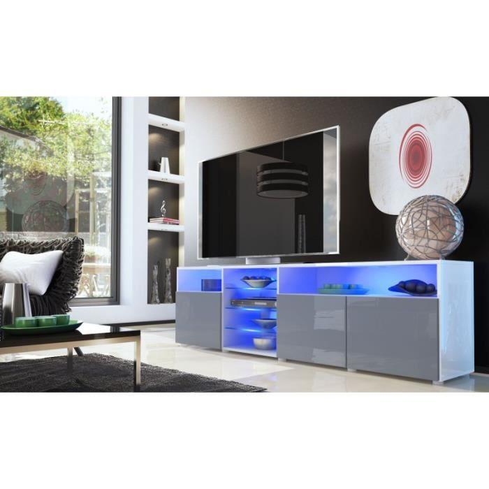 Meuble tv bas blanc gris 194 cm achat vente meuble tv meuble tv bas bla - Meuble tv blanc gris ...