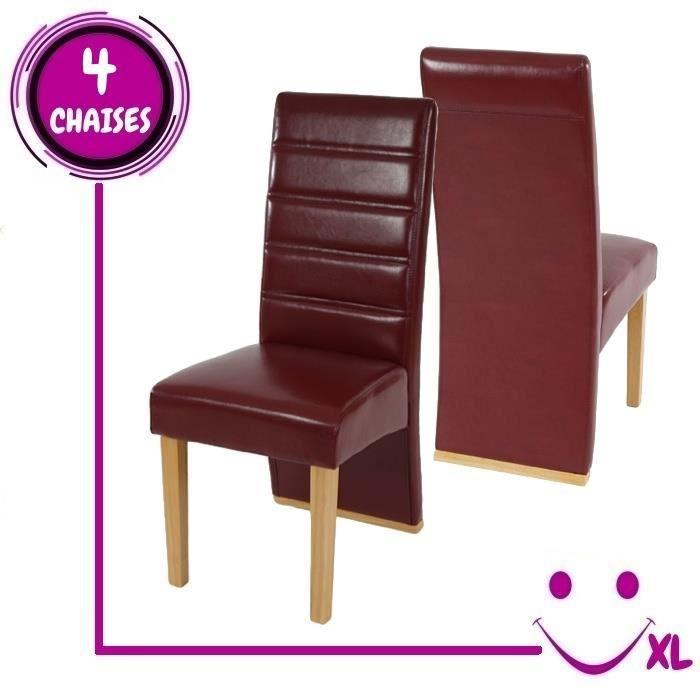 4 chaises de salle manger krems imitation cuir rouge for Chaise rouge salle a manger