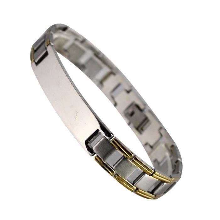 gourmette bracelet homme en acier inoxydable couleur or. Black Bedroom Furniture Sets. Home Design Ideas