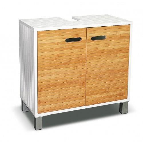 meuble sous lavabo bambou blanc 2 portes achat vente meuble vasque plan meuble sous lavabo. Black Bedroom Furniture Sets. Home Design Ideas