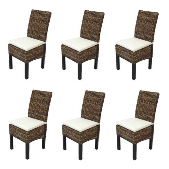 Lot de 6 chaises m69 de salle manger avec des coussins for Chaise de salle a manger avec roulette