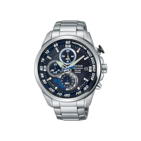 montre pulsar chrono solaire homme acier bracelet m tal pz6001x1 sport achat vente montre. Black Bedroom Furniture Sets. Home Design Ideas
