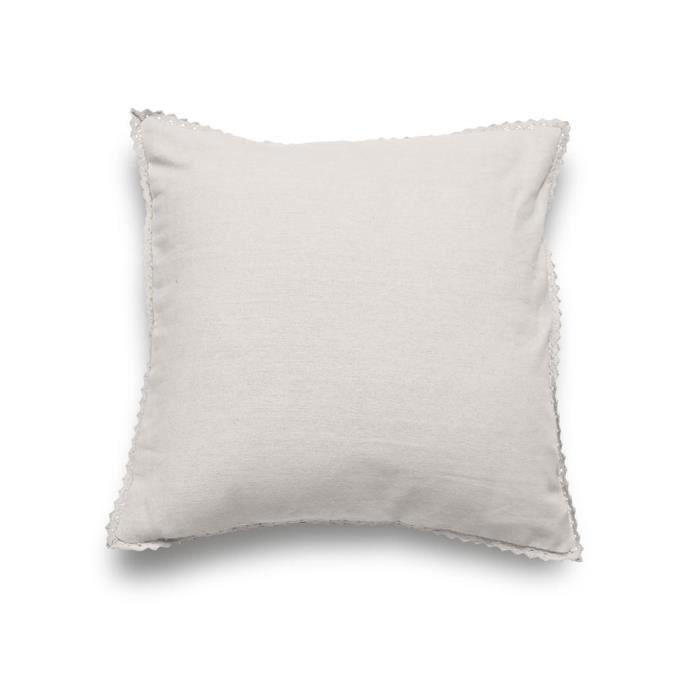 housse de coussin pur coton 60x60 cm dentelle lin achat. Black Bedroom Furniture Sets. Home Design Ideas