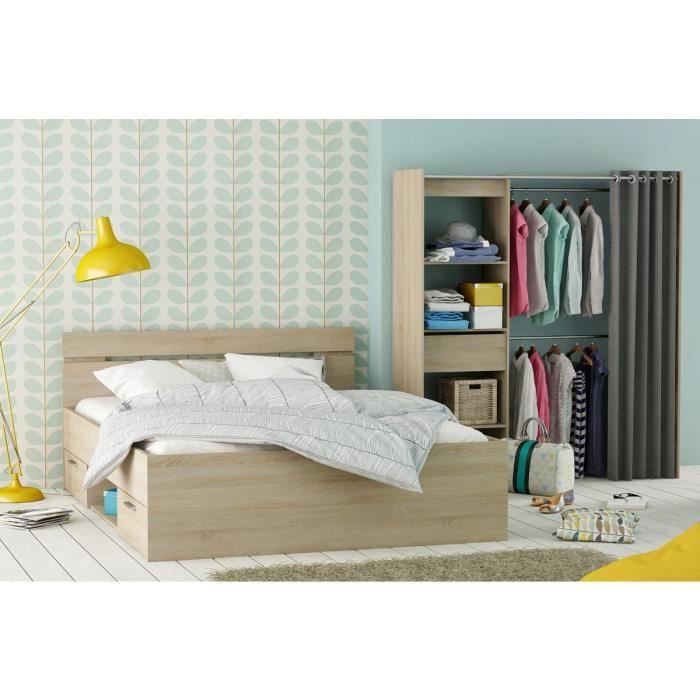 Chambre adulte 160x200 lit dressing imitation ch ne bross achat vente ch - Cdiscount chambre adulte ...