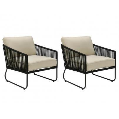 lot de 2 fauteuils de jardin envigado en m tal et achat vente chaise fauteuil jardin lot. Black Bedroom Furniture Sets. Home Design Ideas