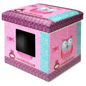 D&D Maisonnette Ottoman - 38x38x38cm - Rose - Pour chat ou petit chien