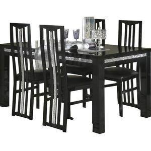 Table a manger avec chaises noir achat vente table a - Ensemble table a manger et chaise pas cher ...