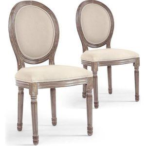 CHAISE Lot de 2 chaises médaillon Louis XVI Tissu Beige
