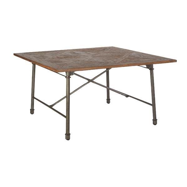 Table de repas carr e en teck massif loft 140cm meuble for Table en teck massif