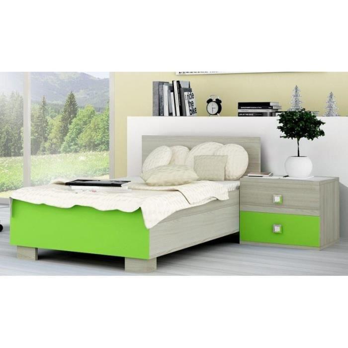 lit 1 personne couleur vert et bois lilian vert achat vente structure de lit lit 1. Black Bedroom Furniture Sets. Home Design Ideas