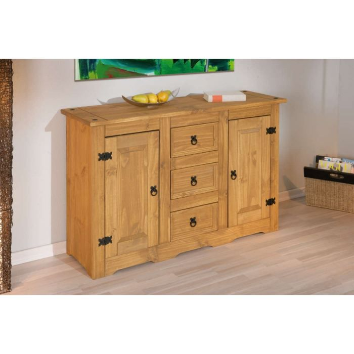 bahut bas en pin achat vente buffet bahut bahut bas en pin pin soldes d t cdiscount. Black Bedroom Furniture Sets. Home Design Ideas