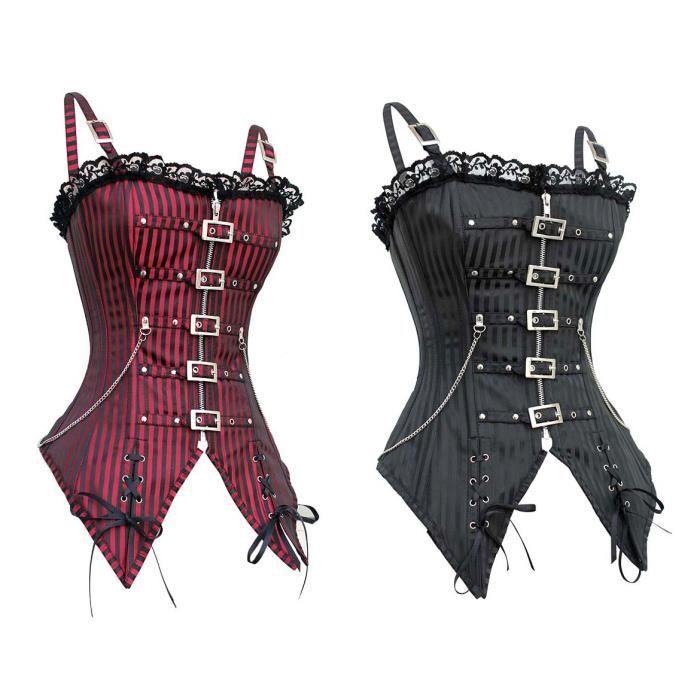 corset bustier serre taille steampunk gothique noir achat vente bustier les soldes. Black Bedroom Furniture Sets. Home Design Ideas