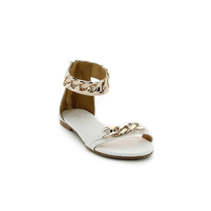 sandales cha nes dor es femme blanc achat vente. Black Bedroom Furniture Sets. Home Design Ideas
