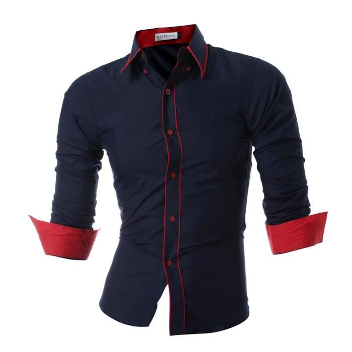 hommes chemise 2017 mode marque hommes manches ray es longue sleeved chemise casual slim homme. Black Bedroom Furniture Sets. Home Design Ideas
