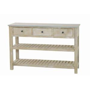 CONSOLE SEVILLE Console 2 étagères 3 tiroirs en bois