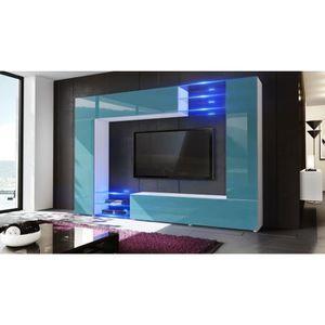 meuble tv blanc laque mural achat vente meuble tv blanc laque mural pas cher cdiscount. Black Bedroom Furniture Sets. Home Design Ideas