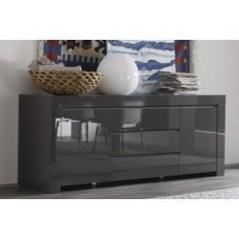 buffet design laqu gris 2 portes 3 tiroirs plaza achat. Black Bedroom Furniture Sets. Home Design Ideas