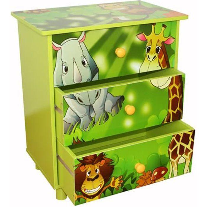 commode de chambre commode enfants de 3 tiroirs en bois avec motif