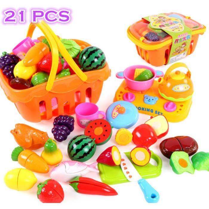 21pcs de cuisine en plastique alimentaire fruits l gumes de coupe jouets b b enfant de cuisine. Black Bedroom Furniture Sets. Home Design Ideas
