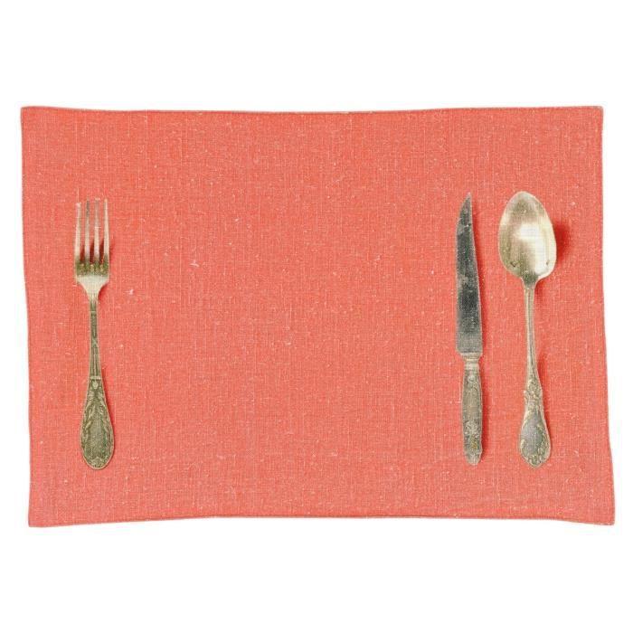Set de table corail en lin lav imprim couverts achat - Set de table en lin ...