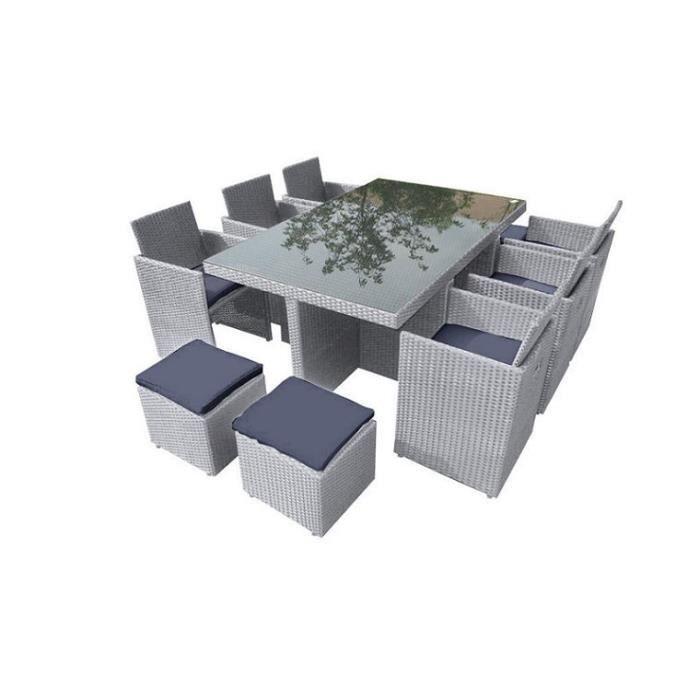 Salon de jardin encastrable en resine tressee grise 10 places sans housse sans parasol achat for Housse salon de jardin resine tressee