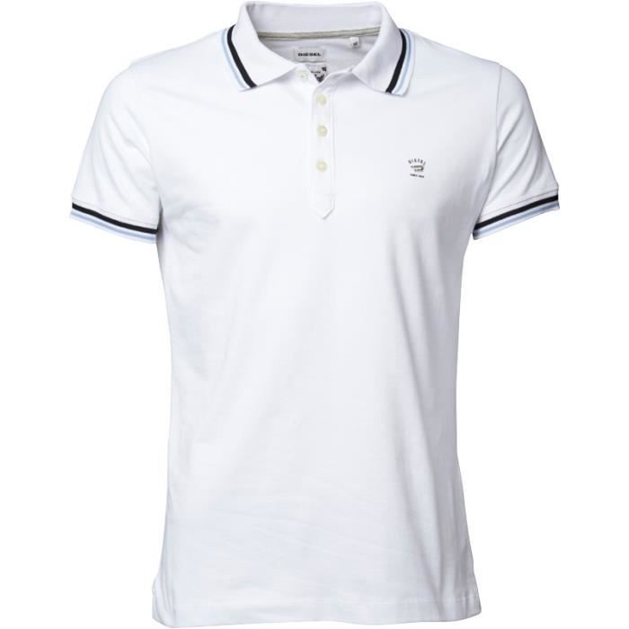 diesel polo t oin homme blanc blanc achat vente polo cdiscount. Black Bedroom Furniture Sets. Home Design Ideas
