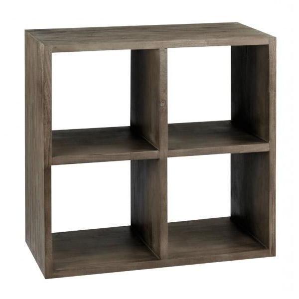etag re cube en teck gris 4 niches 75x75 cm cos achat. Black Bedroom Furniture Sets. Home Design Ideas