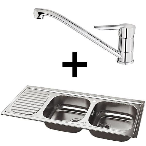 Evier whirlpool inox 2 bacs et 1 egouttoir avec robinet for Evier inox 2 bacs