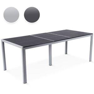 Table graphite aluminium granit 160 x 100cm achat for Table jardin gris clair
