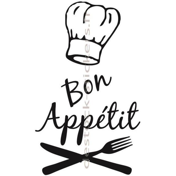 stickers d co cuisine bon app tit toque chef 42 cm achat vente stickers cdiscount. Black Bedroom Furniture Sets. Home Design Ideas