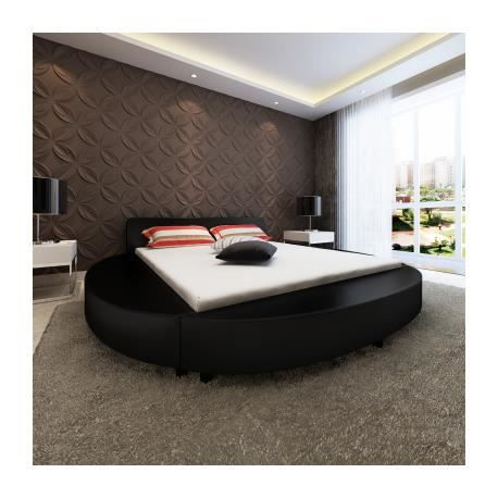lit en pu rond 180 cm noir stylashop achat vente lit complet lit en pu rond 180 cm cdiscount. Black Bedroom Furniture Sets. Home Design Ideas