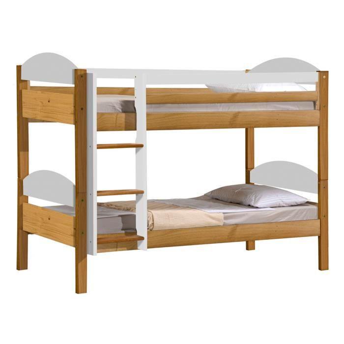lit superpos maximus standard 90 x 190cm coloris antique et blanc achat vente lits. Black Bedroom Furniture Sets. Home Design Ideas