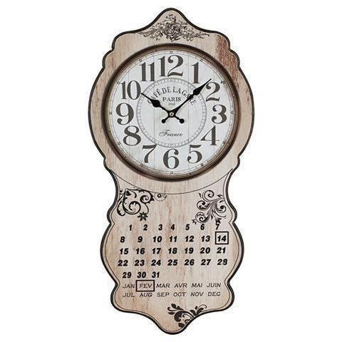Horloge murale retro avec calendrier 60x30 cm achat - Horloge murale avec calendrier ...