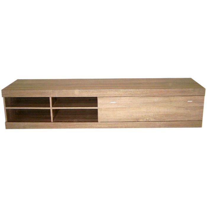 Meuble tv bois couleur ch ne serena achat vente meuble for Meuble tv noir bois